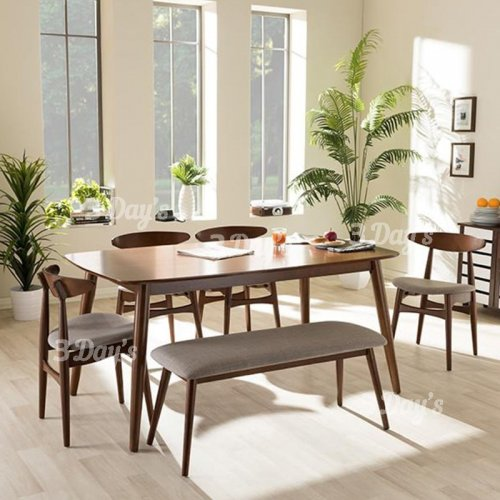 3D- Wesley Dining Set (1+4+Bench)