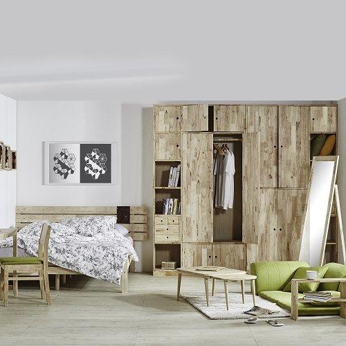 Viscount Bedframe, Woodwall 1200 Wardrobe I & II, Tatami sofa, Maryland II Study Set