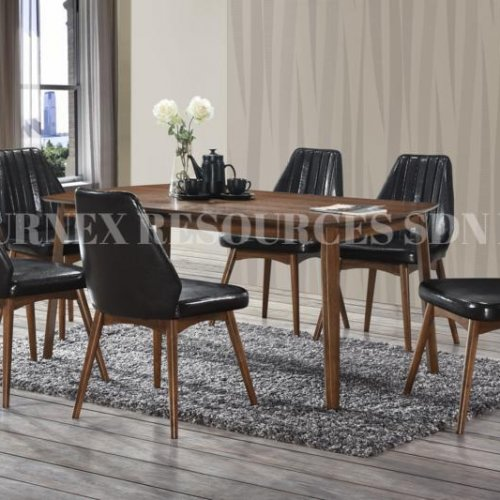 ALEXIS TABLE + IVORY CHAIR 1+6 DINING SET