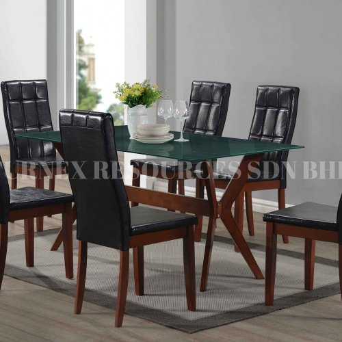 NETTY GLASS TABLE + BOXY CHAIR 1+6 DINING SET