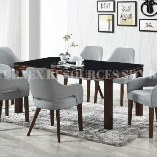 ELENA GLASS TABLE + BOSCO CHAIR 1+6 DINING SET