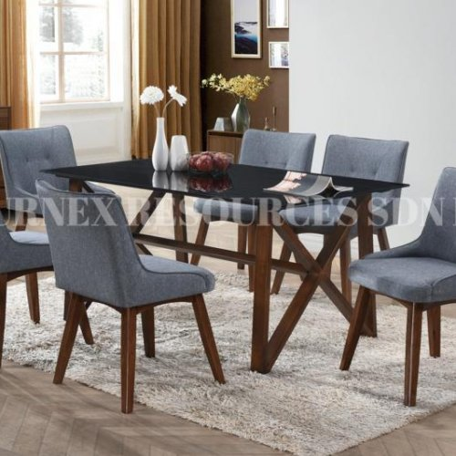 ANTON GLASS TABLE + ALEXIS CHAIR 1+6 DINING SET